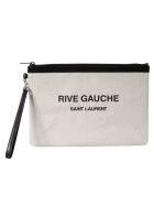 Saint Laurent Rive Gauche Clutch - White/Black