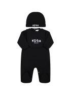MSGM Black Set Fo Babykids With White Logo - Black