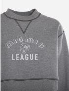 Miu Miu Cropped Cotton Sweatshirt With Rubber-effect Logo Print - Grey