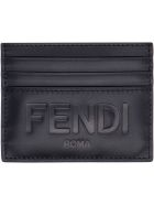 Fendi Leather Card Holder - black
