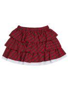Philosophy di Lorenzo Serafini Kids Check Cotton Skirt  With Flounces - Red