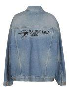 Balenciaga Rear Logo Oversized Jacket - Azzurro