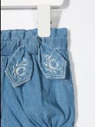 Chloé Bow-detail Denim Shorts - DENIM SCURO