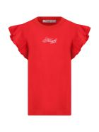 Philosophy di Lorenzo Serafini Kids Red T-shirt For Girl With Logo - Rosso