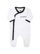 Karl Lagerfeld Kids White Set For Baby Boy With Black Logo - White