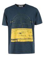 Stone Island Logo Print T-shirt - Blue/Yellow