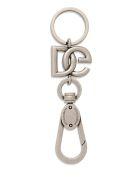 Dolce & Gabbana Brass Keychain With Logo - Metallic