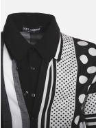 Dolce & Gabbana Silk Blend Polo Shirt With Jacquard Prints - Black