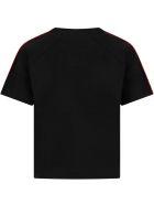 Fendi Black T-shirt For Girl With Logo - Black