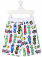 Stella McCartney Kids Cotton Bermuda Shorts With Skateboards Allover Print - White