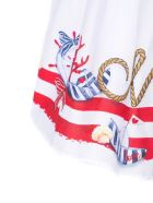 Monnalisa White Cotton Dress - Bianco+rosso