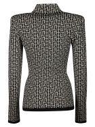 Balmain All-over Logo Knit Pullover - Bianco