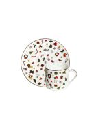 Taitù Set of 2 Espresso Cups & Saucers - Noel Oro Collection - Multicolor and Gold