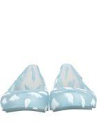 Melissa Light Blue Ballerina Flats For Girl With Clouds - Light Blue