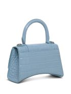 Balenciaga Hourglass Crossbody Bag In Light Blue Crocodile Printed Leather - Light blue
