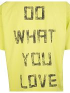 Golden Goose Man Lime-colored Artu' T-shirt With Black Writing Behind