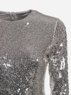 Valentino Cotton Bodysuit With All-over Sequin Embroidery - Grey
