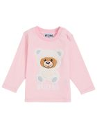 Moschino Long-sleeved Pink Cotton T-shirt With Teddy Bear Print - Pink