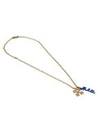 Off-White Leaves Arrow Necklace - Gold/Blue