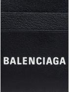 Balenciaga Black Leather Card Holder With Logo - Black
