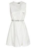 Prada Sleeveless Belted Dress - White
