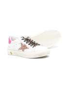 Golden Goose Kid White Super-star Sneakers With Pink Glitter Star And Leopard Laces - White/fuxia