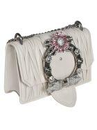 Miu Miu Matelassé Embellished Shoulder Bag - White