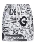 Dolce & Gabbana Logo Print Drawstring Skirt - White/Black