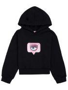 Chiara Ferragni Black Jersey Hoodie With Logo Print - Black