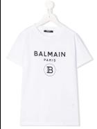 Balmain Unisex Kid White And Black T-shirt With Logo