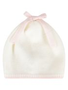 Little Bear Multicolor Hat For Baby Girl With Bow - White