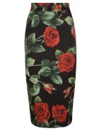 Dolce & Gabbana Rose Print Zipped Skirt - Black