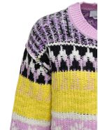 MSGM Multicolor Ikat Sweater With Ripped Inserts - Multicolor