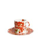 Taitù Set of 2 Espresso Cups & Saucers - Fil Rouge Bacche Collection - Red
