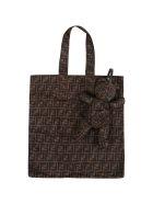 Fendi Brown Shopper-bag For Kids With Ff Logo - Brown
