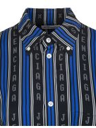 Balenciaga Black And Blue Large Fit Shirt - Black/blue