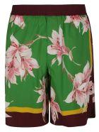 Valentino Floral Print Shorts - Green/Pink