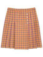 Gucci Orange And Purple Checked Wool Skirt - Orange