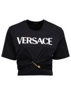 Versace Cropped Cotton T-shirt With Safety Pin Logo Print - Black