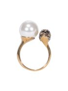 Alexander McQueen Skull And Pearl Ring - Gold