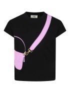 Fendi Black T-shirt For Girl With Purple Bag - Black