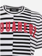 Dsquared2 Asymmetrical Cotton T-shirt With Striped Pattern - White-black