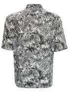 Saint Laurent Floral Viscose Shirt With Jungle Cat Print - Nero