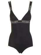 Dolce & Gabbana Rear Cross Strap Logo Swimsuit - Black