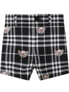 Burberry Black Shorts For Baby Kids With Bears - Black