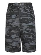 Balenciaga Camouflage Denim Bermuda Shorts - Nero