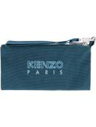 Kenzo Logo Print Flat Pouch - green