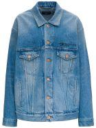 Balenciaga Large Denim Jacket With Logo - Light blue