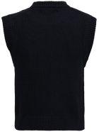 Laneus Black Wool Blend Vest - Black