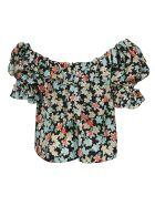 Saint Laurent Floral Print Off-shoulder Blouse - Multicolor